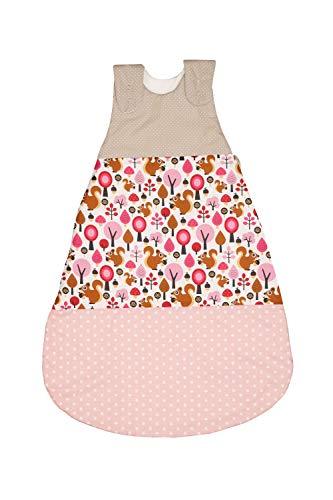 ULLENBOOM Saco de dormir de bebé para verano Beige Ardilla - Saco de dormir de bebé para el verano hecho de algodón, cómodo saco de dormir para bebés, tamaño: 80 a 86