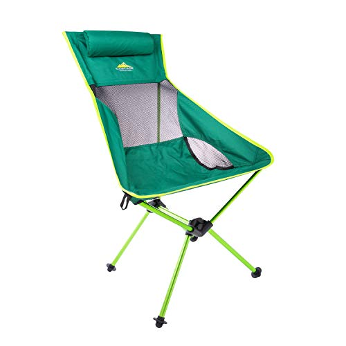 Cascade Mountain Tech Outdoor High Back Lightweight Camp Chair with Headrest and Carry Case - Green