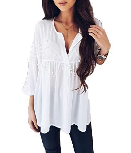 Damen Sommer Bluse Casual Plissee Locker Chiffon Chic Hemden Top Blouse Fashion V...