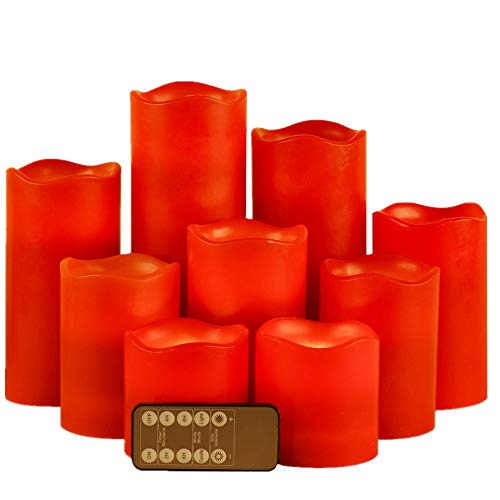 """Red Flameless Candles LED Candle Set of 9 (D 3"""" x 3"""" 4"""" 5"""" 6"""" 7"""" 8"""") Flickering Electric Candles aa Battery Operated, Real Wax Moving Wick LED Pillar Candle Sets with Remote Control and Timer"""