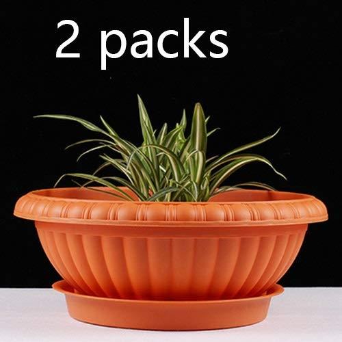 Kituir 2 Sätze / 3 Pack Resin verdickte Blumentopf Drainage Breath Juicy Runde Kunststoff Flowerpot europäischer Stil mit Tray HauptGardening Einpflanzen Planter