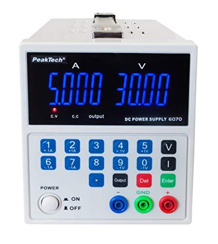 PeakTech 6070 – Linear geregeltes Netzgerät, Labornetzteil 0-30V / 0-5A, Regelbar, Labornetzgerät DC mit USB & 4-stelliger LED-Anzeige, Strommessgerät, Überlast- & Kurzschlussfest, Passive Kühlung
