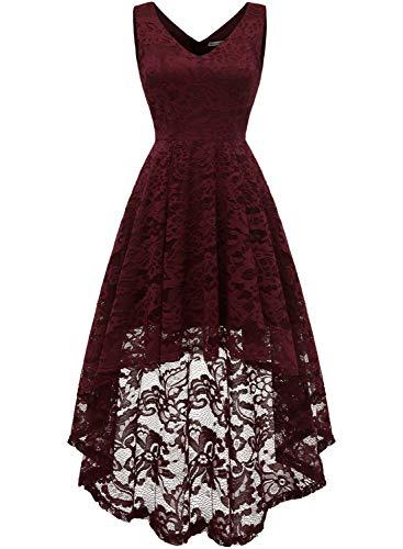 MuaDress 6666 Damen Kleid Ärmellose Cocktailkleider Knielang Abendkleider Elegant Spitzenkleid V-Ausschnitt Asymmetrisches Brautjungfernkleid Burgundy M