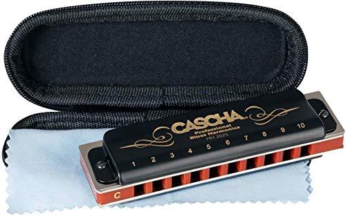 CASCHA HH 2025 - Armónica profesional de blues, en Do mayor con estuche y paño de limpieza