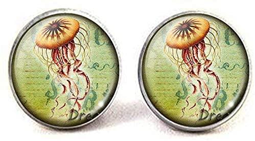 Medusas Pendientes Pendientes Medusas Medusas Joyería Charm Medusas Cristal Foto Arte Collar Colgante Joyas Vida Marina