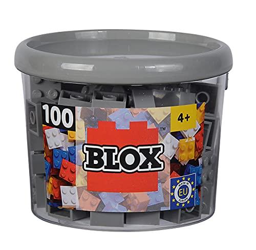 Simba 104114534 - Blox, 100 graue Bausteine für Kinder ab 3 Jahren, 4er Steine, in Dose, hohe Qualität, vollkompatibel mit vielen anderen Herstellern