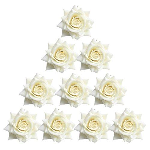 joyMerit 10pcs Artificial Floral Velvet Roses Flowers for Wedding Bouquet Decor White