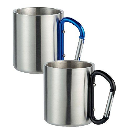 2 Stück Doppelwandiger Edelstahl Kaffeebecher mit Karabinerhaken zur Befestigung am Rucksack mit schwarzem und blauen Karabiner von notrash2003®