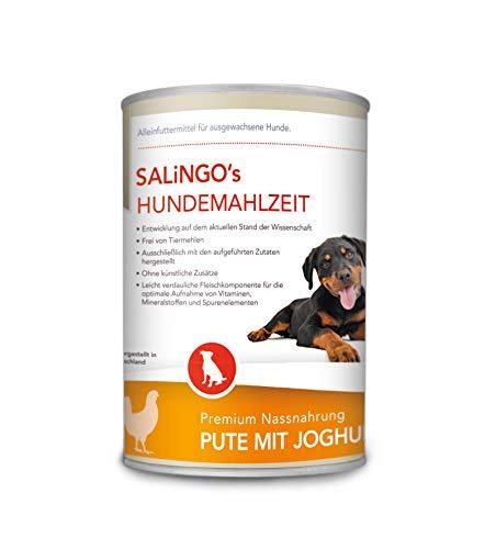 SALiNGO Hundefutter nass, Pute mit Joghurt und Spätzle (6x400g)