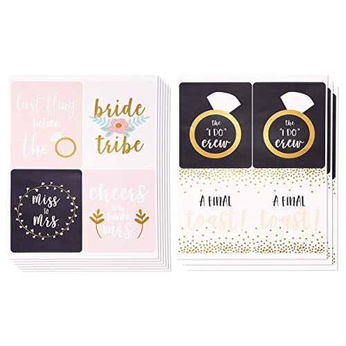 36-Count Bridesmaid Labels - Wine Bottle Label Stickers for Bachelorette, Engagement Parties, Bridal Showers, Ideal Pre-Wedding Party Gift Supplies in 6 Assorted Designs, 6 of Each - 4 x 5 Inches