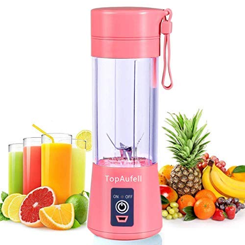 TopAufell Portable blender, Personal mini Size Blender for Smoothies and Shakes, Six blades in 3D for Superb Mixing, 13oz/380ML USB Rechargeable Juicer Cup, 2000mAh Powerful Handheld Fruit Mixer Machine