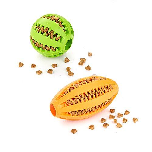 AMATHINGS Doppelpack (=2 Stück) Hundespielzeug Ball In Grün Und Ei In Orange Premiumqualität Snackball (7 cm) Und Rugbyball (11 cm) Zur Zahnpflege Und Spielspaß