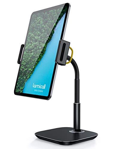 Lamicall Tablet Ständer Verstellbare, Tablet Halterung - Universal Halter, Stand für 2020 iPad Pro 9.7, 10.5, 12.9, iPad Air Mini 2 3 4, Switch, Tab, iPhone, und Tablet mit 4.7-13 Zoll - Schwarz