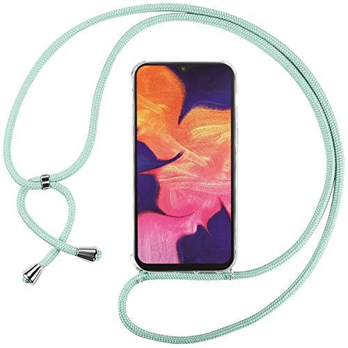 Ingen Funda con Cuerda para Samsung Galaxy A10 - Carcasa Transparente TPU Suave Silicona Case con Colgante - Verde