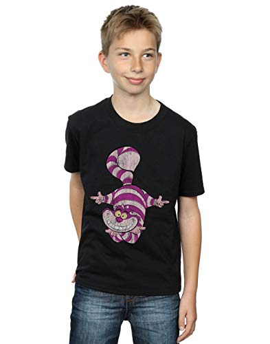 Disney Boys Alice in Wonderland Cheshire Cat Upside Down T-Shirt Black 7-8 Years