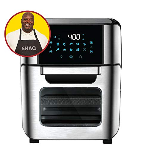 Cooking with SHAQ 7-in-1 Electric Hot Air Fryer Oven Pro, Convection, Toast, Rotisserie, Air Fry, Roaster, Broil, Bake, Reheat, Dehydrate, 12-Quart XL Capacity, Stainless Steel or Black--- 1700 WATTS (Stainless Steel)