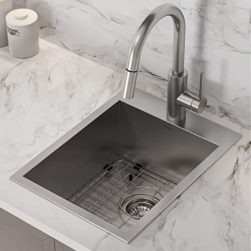 Kraus KP1TS15S-1 Pax Kitchen Sink Single Bowl, 15 Inch, Stainless Steel