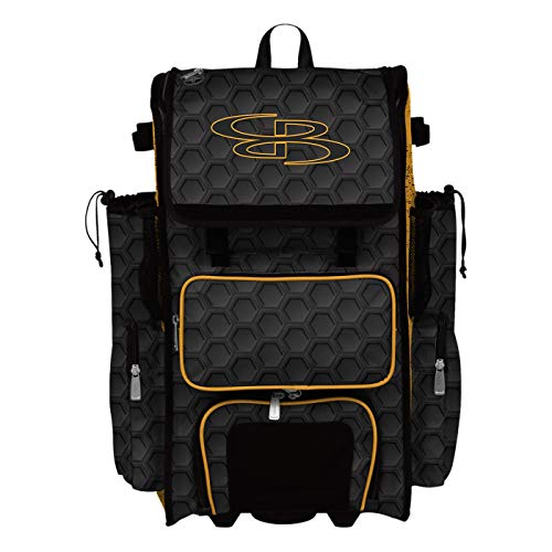 "Boombah Rolling Superpack 2.0 3DHC Baseball/Softball Gear Bag - 23-1/2"" x 13-1/2"" x 9-1/2"" - Black/Gold - Telescopic Handle - Holds 4 Bats - Wheeled Version"