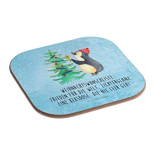Mr. & Mrs. Panda Frühstück, Party, Quadratische Untersetzer Pinguin Weihnachtsbaum mit Spruch - Farbe Eisblau