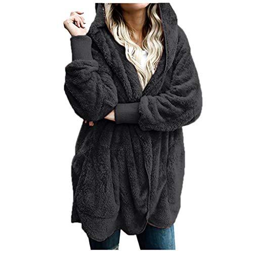 Eaylis Damen Herbst Winter Outing Stil Frauen Warm Sweatshirt Langen Mantel Jacke Tops Outwear Hoodie Outwear Kapuzenpullover,Einfarbige, LangäRmlige, Warme Baumwolljacke Aus PlüSch