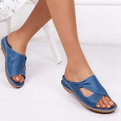 Casual Vacaciones Walking Zapatos, Todo-Zapatillas de Punta Abierta, tacón de cuña Sandalias de Las Mujeres-Blue_35, Soft Sole Piscina Zapatos Baño kshu