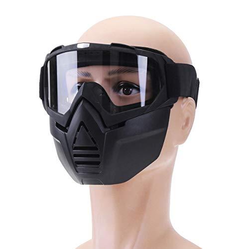 Ys-s Personalización de la Tienda Anti Niebla Gafas de Motocicleta Bicicleta Buena mascarilla Gafas len Nariz Casco Escudo (Color : Transparent)