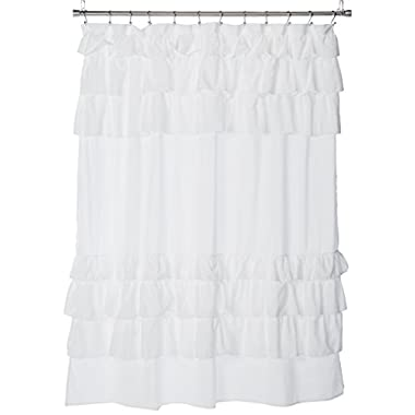 Grace White Shower Curtain,Solid Cottage Top Shower Curtains for Bathroom, 72 X 72, Cream