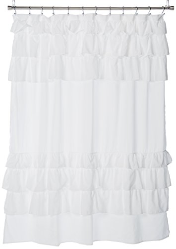 Madison Park, Shabby Chic Ruffles Design Grace White, Solid Cottage Top Shower Curtains for Bathroom, 72 X 72, 72x72
