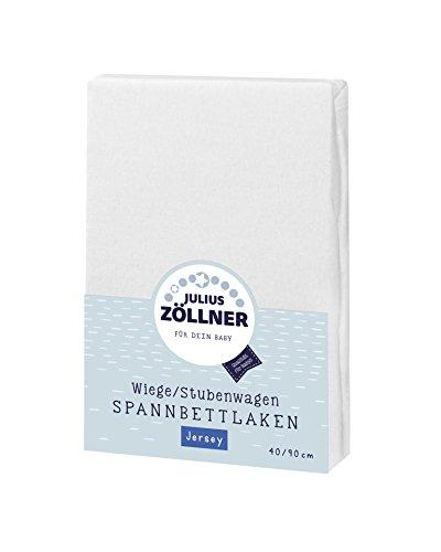 Julius Zöllner Jersey Spannbettlaken für Wiegen 90x40cm und Stubenwagen, 100% Baumwolle, STANDARD 100 by OEKO-TEX, weiß