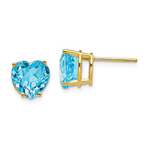 14k Yellow Gold 8mm Heart Blue Topaz Post Stud Earrings Love Gemstone Fine Jewelry For Women Gifts For Her
