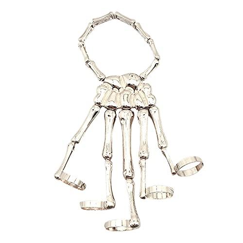 artline Ornement d'Halloween, bracelet gothique punk squelette avec anneau en métal pour homme et femme