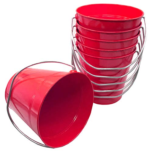 Metal Bucket Red Size