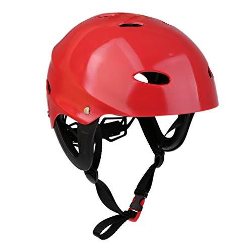 Inzopo - Casco di sicurezza per sport acquatici, regolabile, per kayak, canoa, vela, surf, sup, wakeboard, sci d'acqua, kitesurf hard cap - rosso