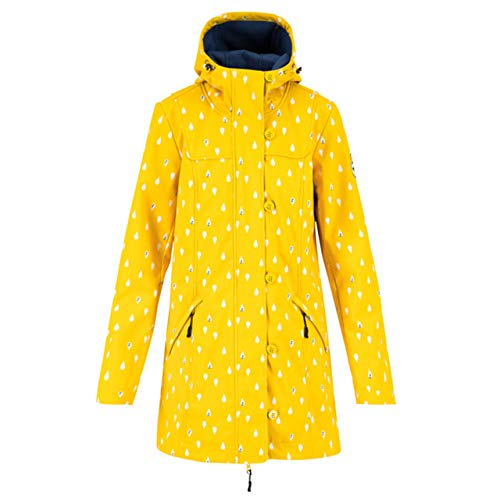 Blutsgeschwister Damen Softshellparka Wild Weather Long Anorak North sea Drops gelb/Weiss - L
