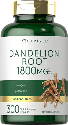 Dandelion Root Capsules 1800mg | 300 Count | Non-GMO, Gluten Free Supplement | by Carlyle