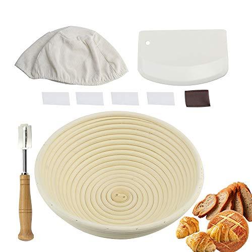Gärkörbchen für Sauerteig, Brot und glutenfreies Brot mit Teigschaber und Brotkorb, 25,4 cm, 9 Stück