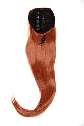 WIG ME UP ® - Extensión de pelo voluminosa lisa coleta clip tipo mariposa pequeño elástico pelo aprox. 60 cm rojo cobrizo WK06-350