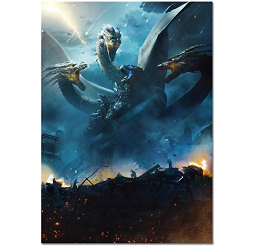 DPFRY Leinwand Malerei Wandkunst Bild Godzilla König Der Monster Movie Poster Print Leinwand Malerei Geschenk Ohne Rahmen 40 * 60 cm
