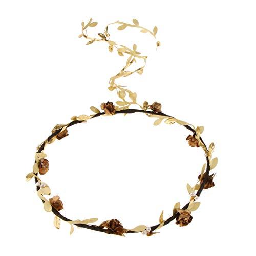 joyMerit Boho Women's Floral Flower Festival Wedding Garland Flower Head Band - Gold (Adult), as described