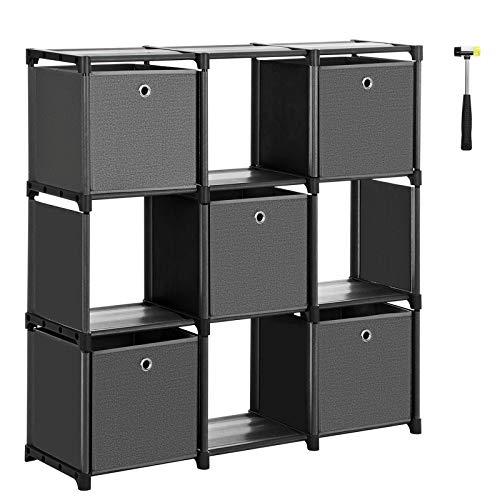 SONGMICS Würfelregal, 9 Würfel Bücherregal, Treppenregal mit 5 Aufbewahrungsboxen, DIY Aufbewahrung für Kleidung, mit robustem Metallrahmen, inklusive Gummihammer, 105 x 30 x 105 cm, schwarz LSN95BK