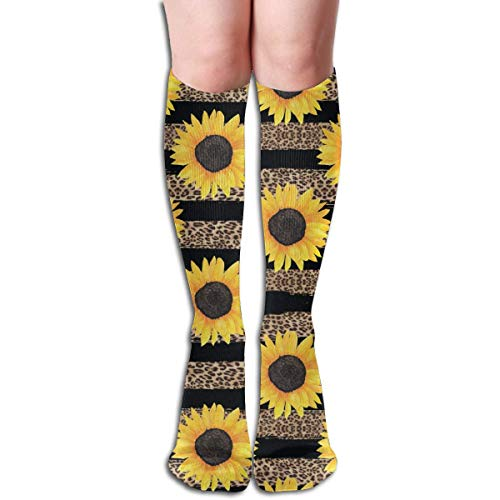 Sunflower And Leopard Print Unisex Moisture Wicking Athletic Crew Socks,Casual Socks,Short Sock Flexible And Breathable,Lightweight And Durable Very Suitable Running, Walking, Gym Fitness.