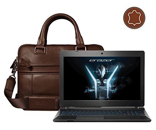 Leder Laptoptasche für Damen/Herren passend für Medion Erazer P6689   Braun