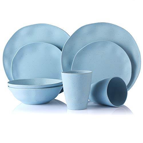 MORGIANA 8 Piezas Vajilla de bambú, Platos de bambú Conjunto Platos para la Cena Tazones Tazas para Fiesta/Boda/Camping/Picnic (Azul)