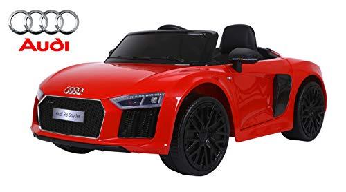 RIRICAR Elektrisches Auto für Kinder, Audi R8 Spyder, Rot, mit 2.4 Ghz Fernbedienung, 24 Monate - 6 Jahre, Batterie 12V - 7AH