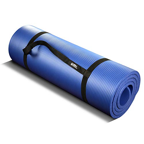 UMI. by Amazon - Tappetino Fitness per Pilates Extra Spesso Yoga Pilates Abdominals And Stretching 180 x 61 x 1.5 cm (Blu)