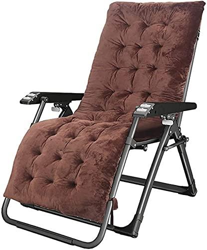 SACKDERTY Tumbonas de ocio para el hogar Tumbonas reclinable plegable de relajación, sillas de jardín con gravedad cero con cojín, marrón 67 cm