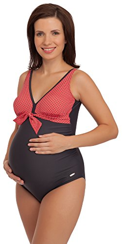 Be Mammy Premamá Trajes de Baño 1 Pieza Monokini Ropa Verano Maternidad Mujer 91R3SS1 (Grafito/Coral, 44)