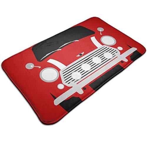 Classic Mini Cooper Car Carpet 19.5 * 31.5 Inch Door Mat For Indoor Kitchen Bathroom Living Room Non-Slip Rug Doormat White 19.5''Wx31.5''L