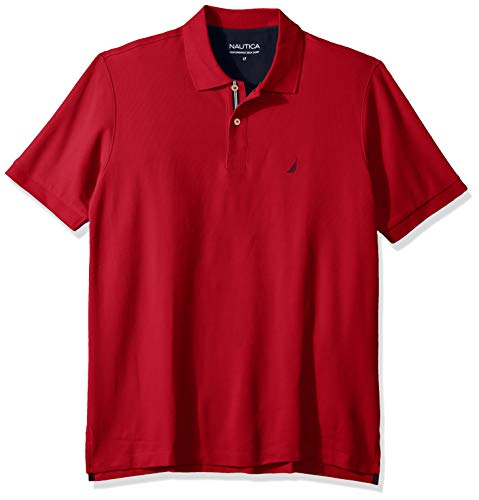 Nautica mens Classic Fit Short Sleeve Solid Performance Deck Polo Shirt, Nautica Red, 3X US