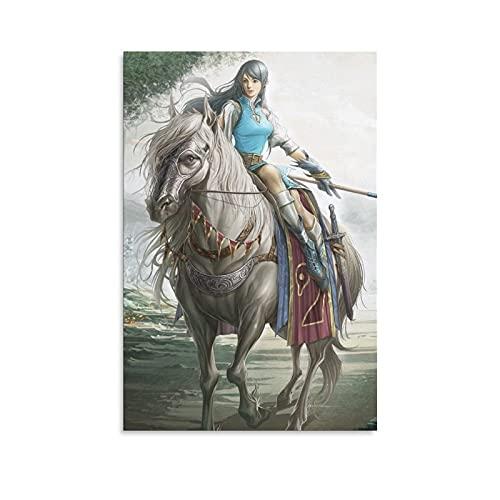 Cuadro decorativo para pared, diseño de caballo de guerrero, 20 x 30 cm